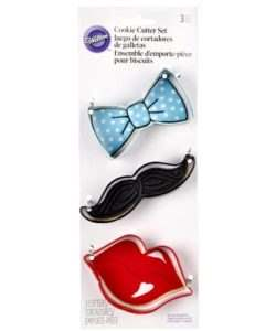 Wilton Cookie Cutter Set Tie/Mustache/Lips (2)
