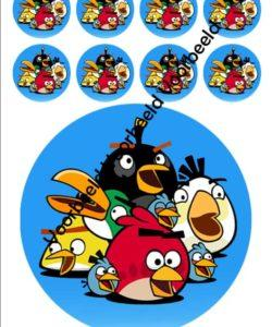Angry Birds 18 cm rond + 8 cupcakes