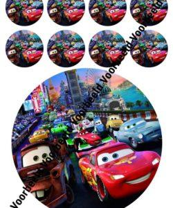 Cars 18 cm rond + 8 cupcakes