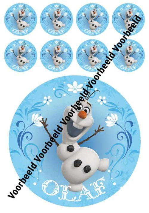 Frozen olaf 18 cm rond + 8 cupcakes
