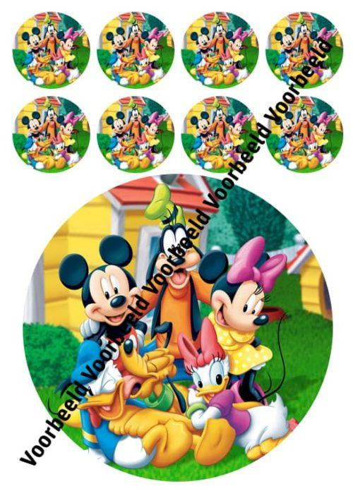 Mickey mouse 18 cm rond + 8 cupcakes