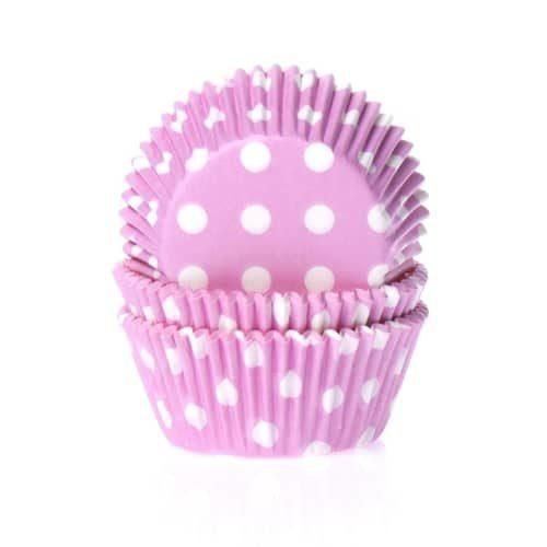 House of marie baking cups stip roze pk/50