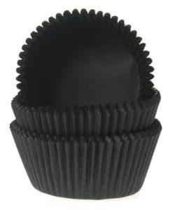 House of Marie Mini Baking cups Zwart pk/60