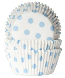 House of Marie Baking cups Stip Wit/Baby Blauw pk/50