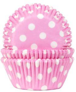 House of Marie Baking Cups Stip Baby Roze pk/50