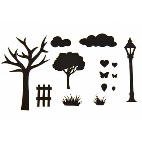 Patchwork cutter countryside silhouette set (2)