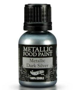 Rd metallic food paint dark silver 25ml (2)