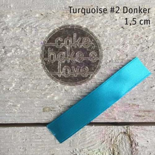 Lint per meter 1,5 cm breed turquoise #2 donker