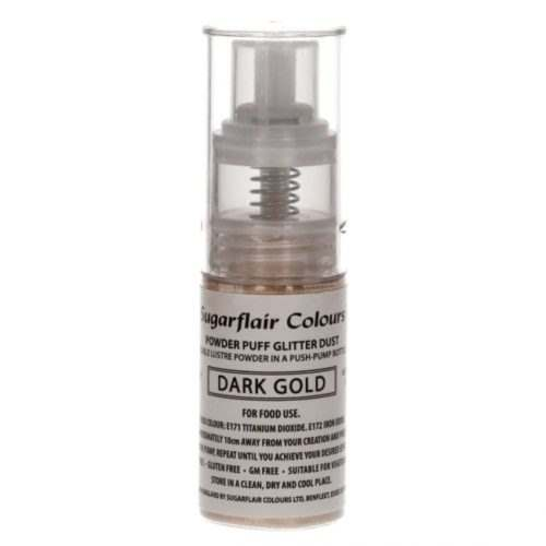 Sugarflair pump spray glitter dust -dark gold- bij cake, bake & love 5