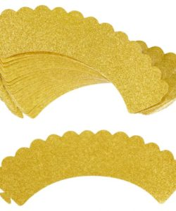Wilton Cupcake Wrappers Glitter Gold pk/24 (2)