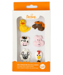6 Pcs Sugar Decorations Farm Animals