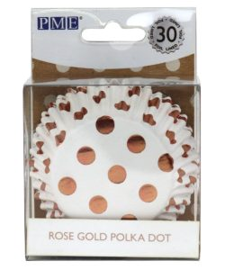 PME Foil Lined Baking Cups Rose Gold Polka Dot pk/30