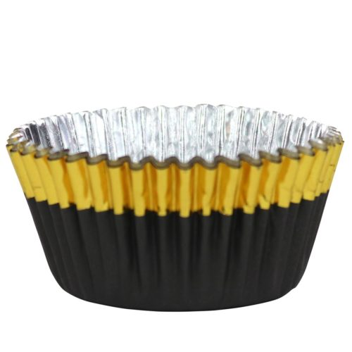 Pme foil lined baking cups black with gold trim pk/30 (2)