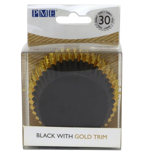 PME Foil Lined Baking Cups Black with Gold Trim pk/30