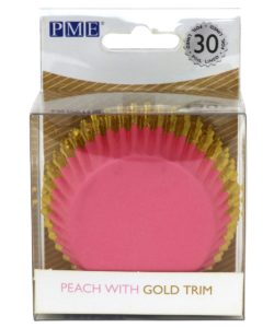 PME Foil Lined Baking Cups Peach with Gold Trim pk/30
