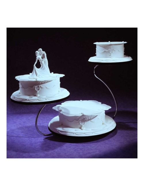 Swan shape gold finish 3 tier cake stand bij cake, bake & love 4