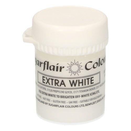 Sugarflair - max concentrate paste colour white extra 50g bij cake, bake & love 5