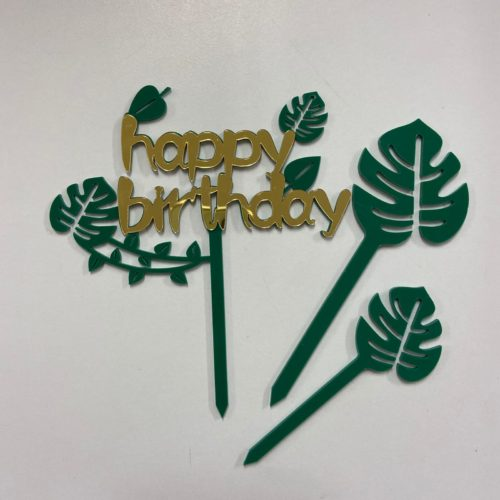 Caketopper happy birthday botanical bij cake, bake & love 5