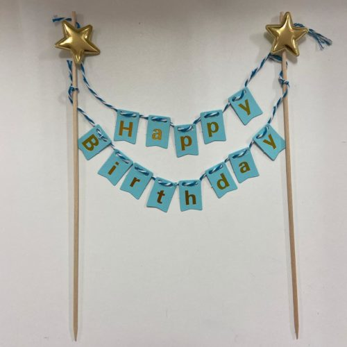 Caketopper happy birthday bunting blue bij cake, bake & love 5
